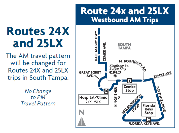 Map of Route 24X and 25LX detours